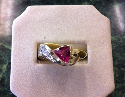 yellow white gold ring pink stone diamond two tone