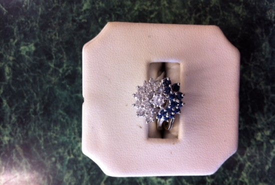 white gold diamond sapphire ring